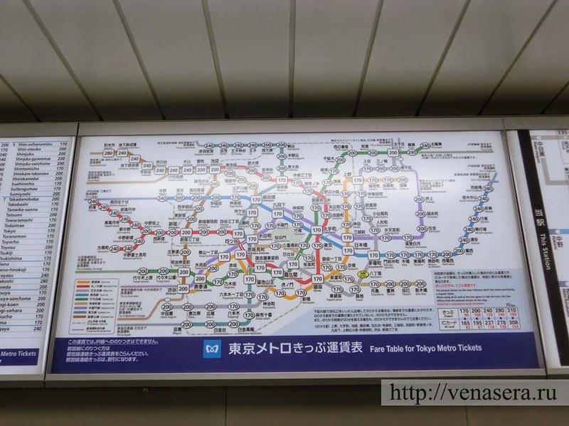 Карта с ценами - Метро в Токио