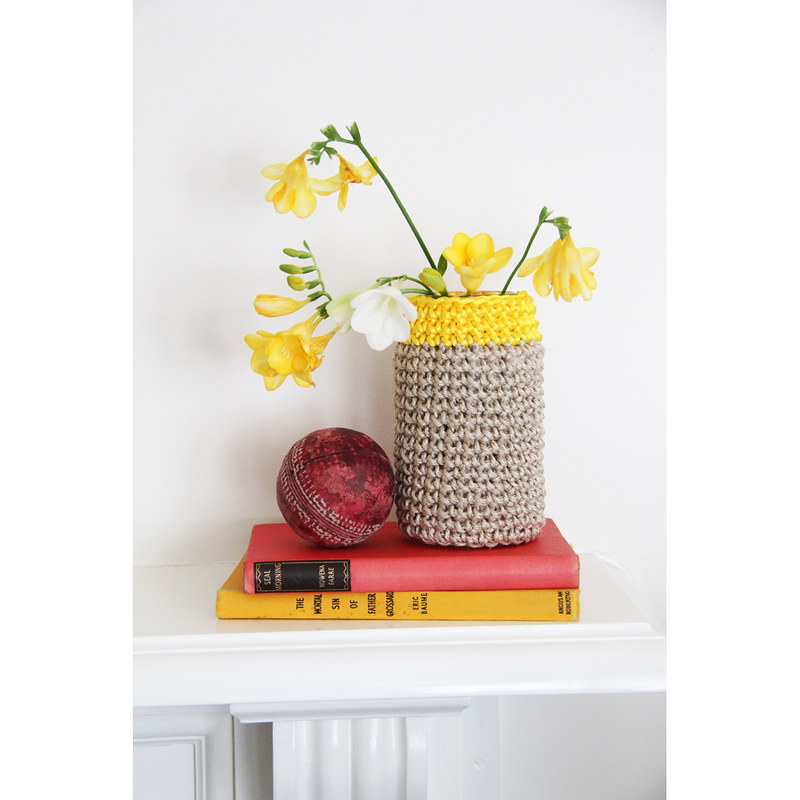 Covered jar with yellow satin trim by Crayon Chick