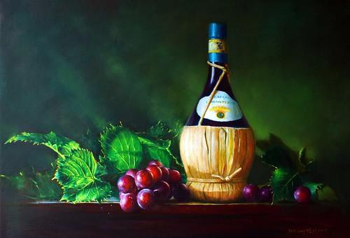 Artliang 梁培政 油畫靜物 葡萄 葡萄酒 oil painting grapes red  wine