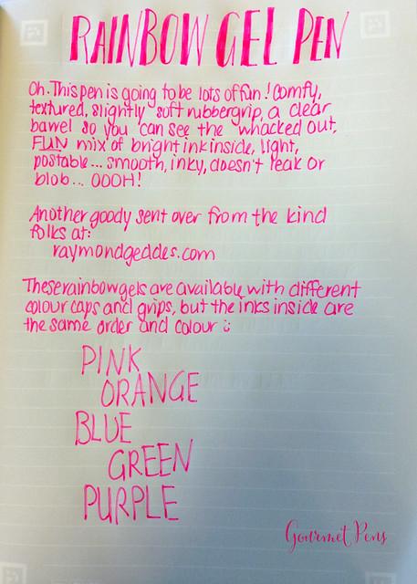 Review: Rainbow Gel Pen @RaymondGeddes