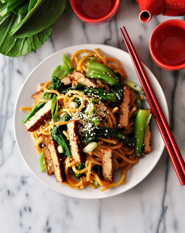Tofu, Bok Choy & Broccolini Noodles with Maple-Soy-Sesame Sauce   www.fussfreecooking.com