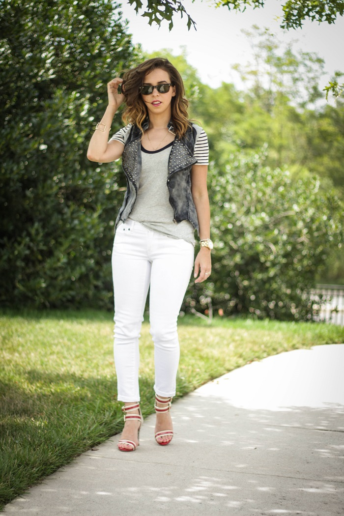 va darling. dc blogger. virginia personal style blogger. dc style. grey. stripe tee. moto vest. white jeans. red strappy heels. 2