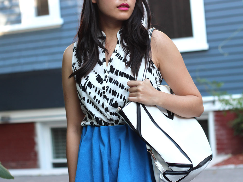 Bright blue paper bag waist skirt || Another Beautiful Thing blog