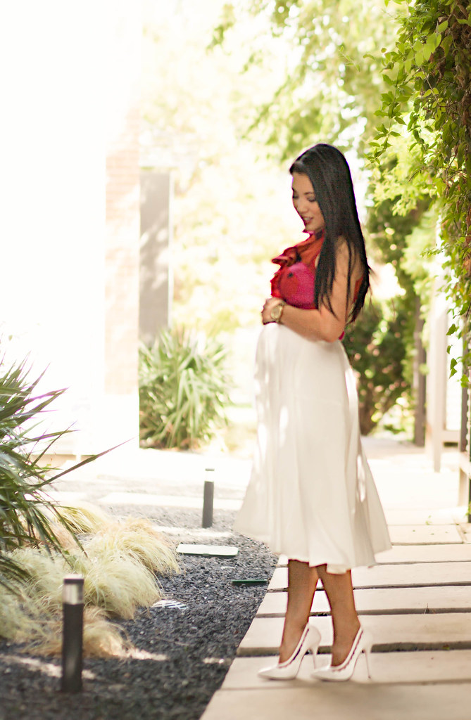 cute & little | maternity pregnancy bump summer style | petite fashion blog | red sleeveless ruffle blouse, white midi skirt, leopard belt, white pumps | 18 weeks