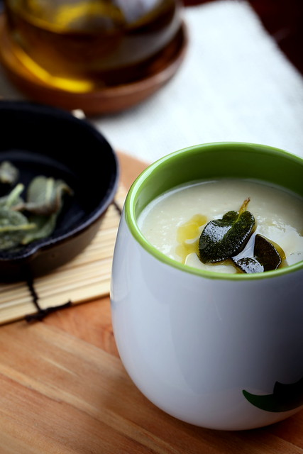 Jerusalem Artichoke Soup with Crispy Sage Leaves