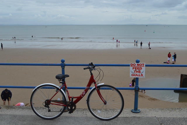 A picture of my bike on Saundersfoot beach