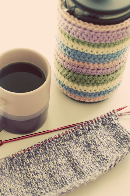 Morning coffee and knitting