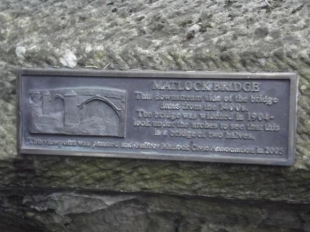 Photo of Matlock Bridge bronze plaque