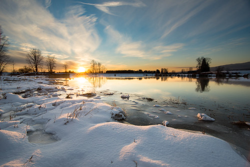 sunset water dawn noperson winter landscape snow evening lake fairweather sky nature reflection ice sun dusk cold river seashore dramatic clouds pittmeadows britishcolumbia canada