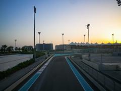 Sunset over F1 racing track, Yas Island