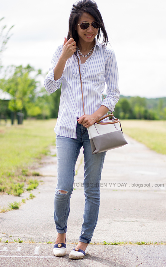 striped button up shirt, distressed jeans, colorblock crossbody bag, espadrilles
