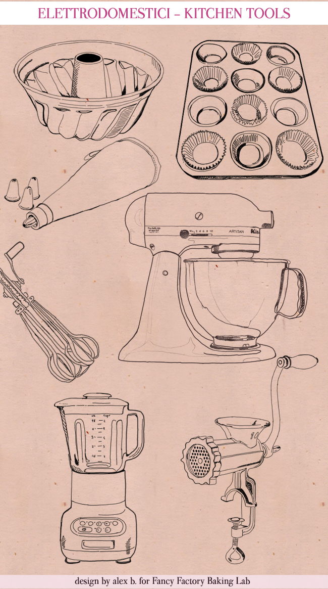KITCHEN TOOLS, HAND-DRAWN KITCHEN ILLUSTRATIONS FOR FANCY FACTORY, COOKING TOOLS, RICETTE ILLUSTRATE