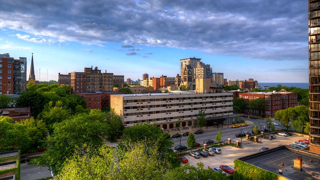 Summer late afternoon overlooking the Park East Hotel and East Side of Milwaukee