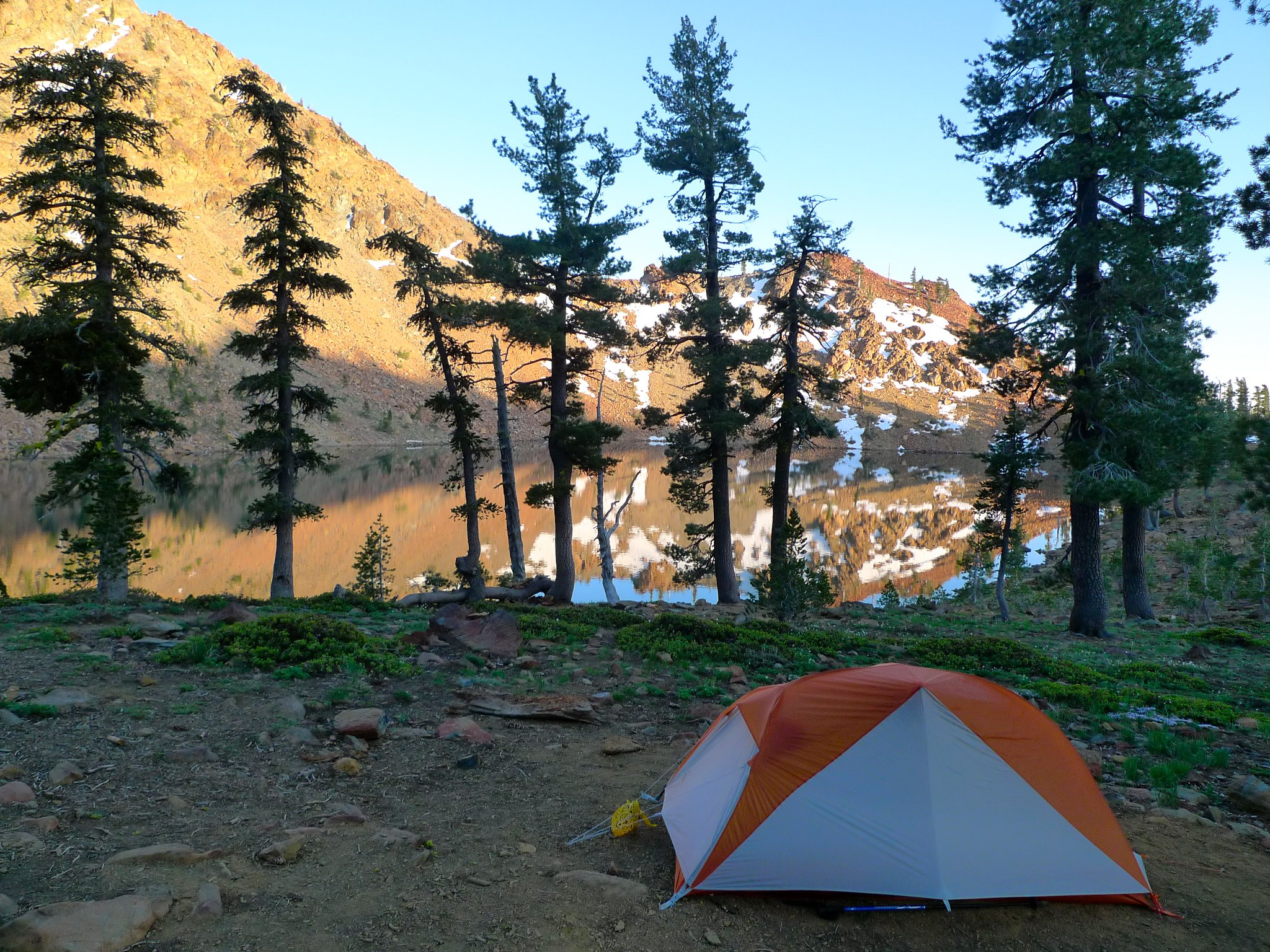 The pee bandana flying triumphantly on my tent guy lines in the Trinity Alps