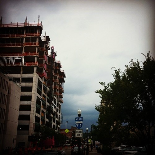 Looks like storm clouds are moving in on downtown Cincinnati...