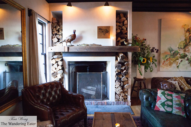 Fireplace at the entry of Fish & Game