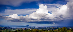 muzzpix-nz posted a photo:	Facebook    | 500px  | WebsiteA view of Tauranga and the Mount with a nasty dump of wet on its way ...