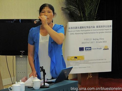 陳利芳在北京參加環保研討會。