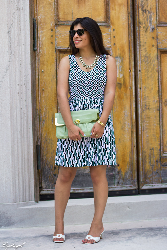 black and white print dress, mint clutch-1.jpg