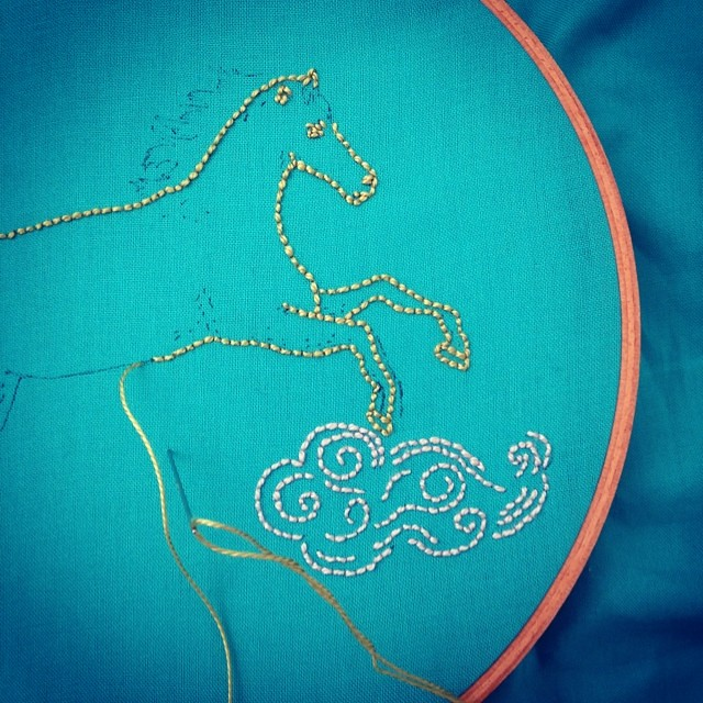 Celebrating the year of the horse (my year!) with #embroidery for the #airembroideryclub
