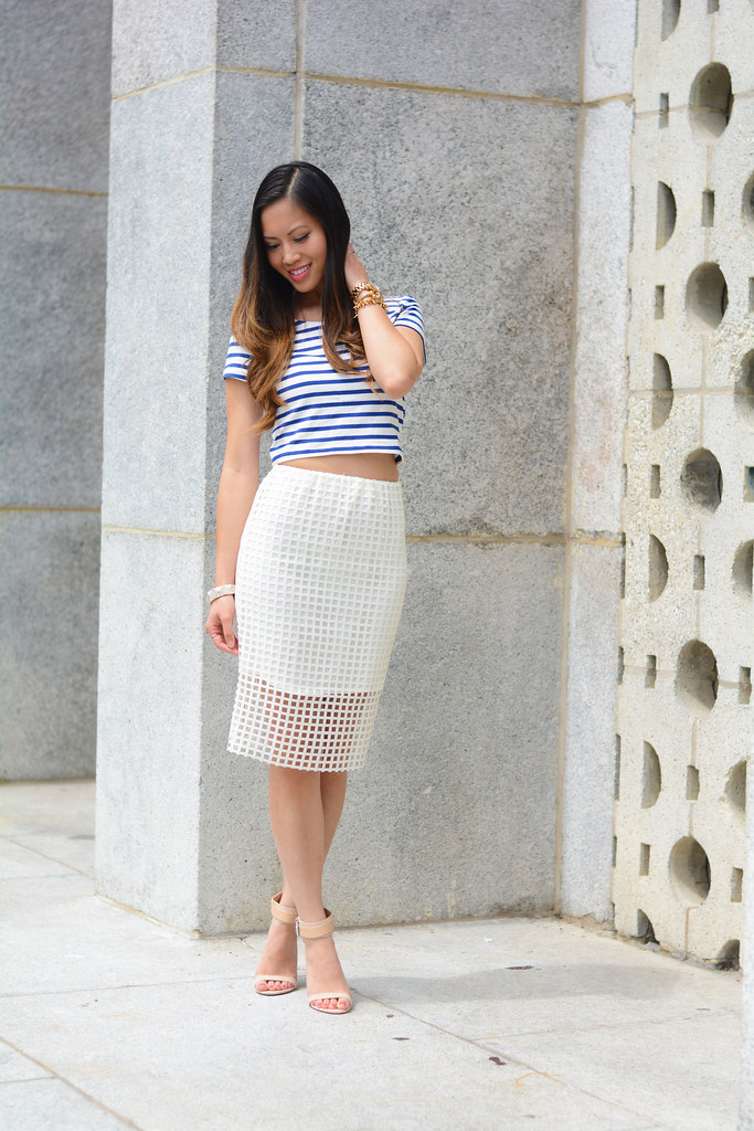 blue stripe crop top & cut out square white pencil skirt summer outfit