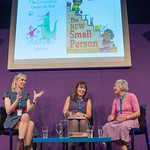 Lauren Child and Judith Kerr share the stage at the Edinburgh International Book Festival |