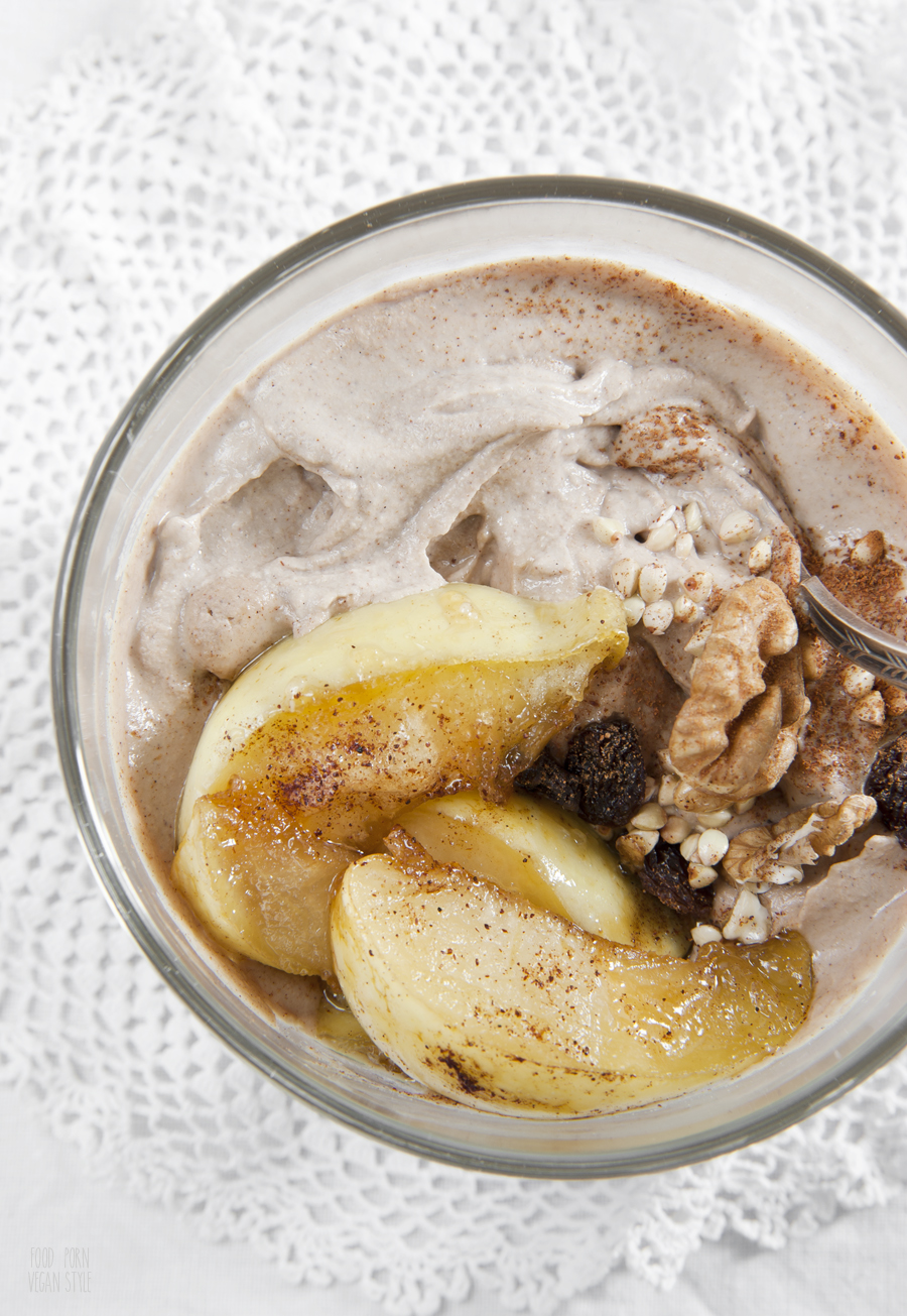 Raw buckwheat porridge with walnuts and caramelised apples