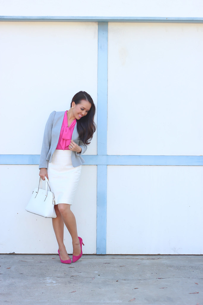 H&M Gray Blazer and PInk Bow Blouse-3