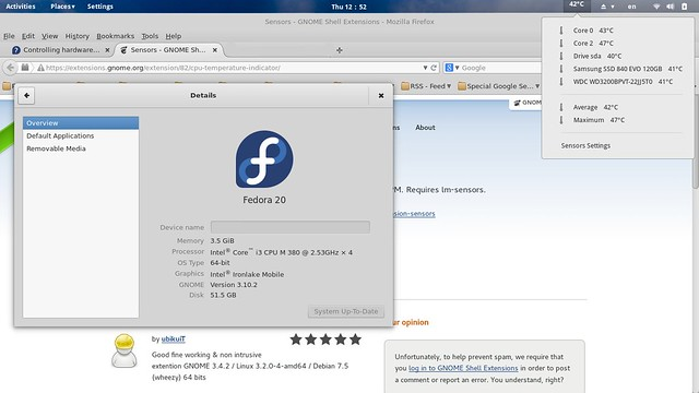 Extension Sensors Fedora 20