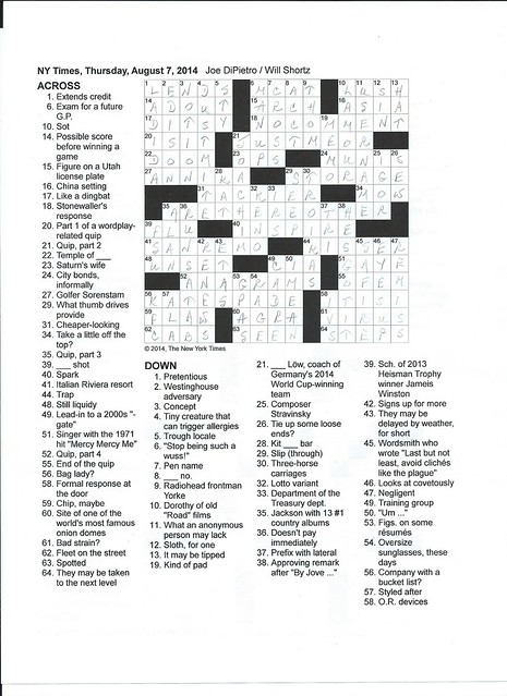 NYT Thursday Puzzle - August 7, 2014