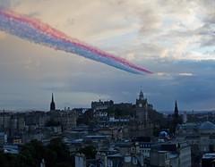 Red Arrows flying over Edinburgh