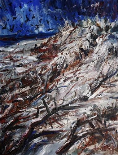 9.和丽斌作品《荒原·尽头》布面油画 180×240cm 2013年
