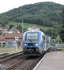 Massiac Station, south of Claremont Ferrand with a Sunday IC service from Beziers to Claremont.