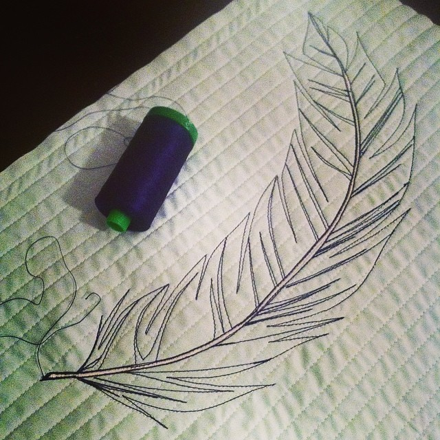 Feather thread sketch beginnings.