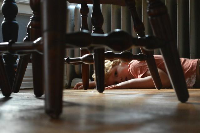 under the chairs