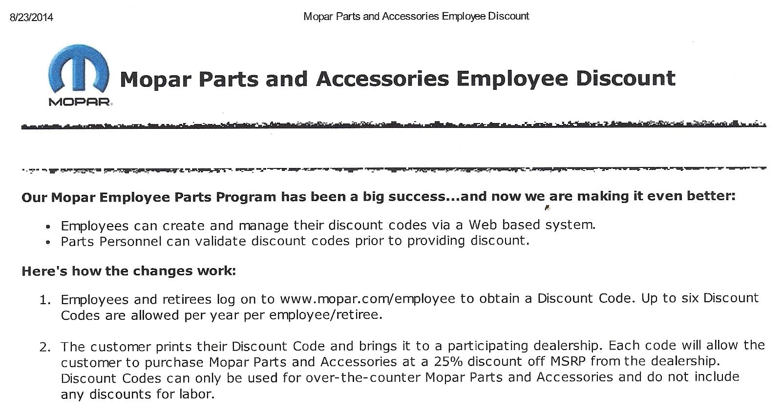 Mopar Employee  Discounts