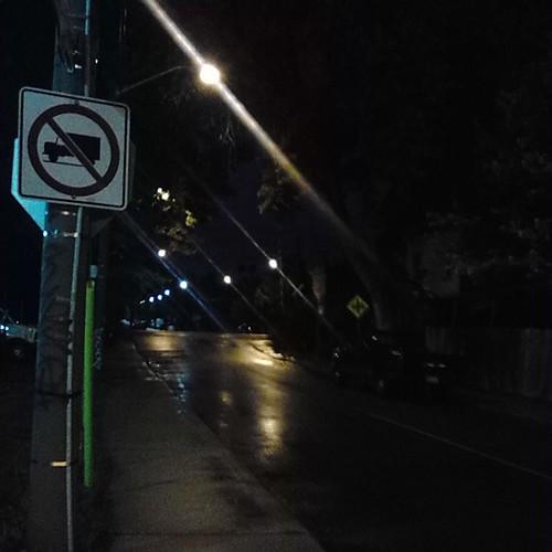 Looking north along Bartlett at Dupont, towards the rail crossing, at 8 pm
