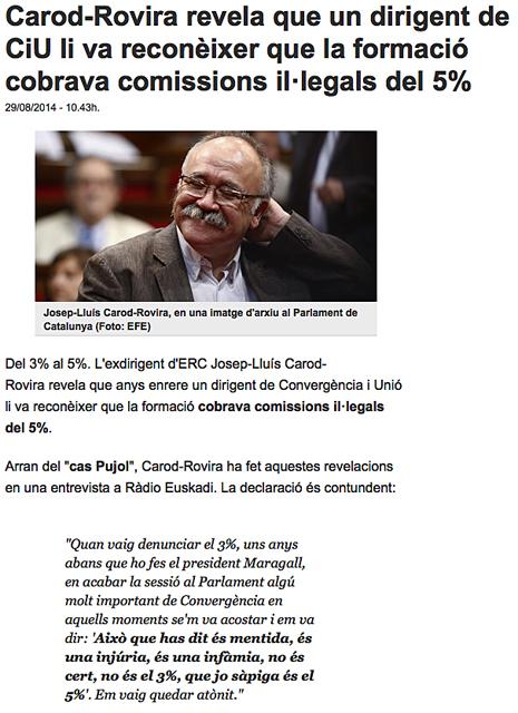 14h29 TV3 Carod afirma que en CiU le confesaron cobrar comisiones 5 %
