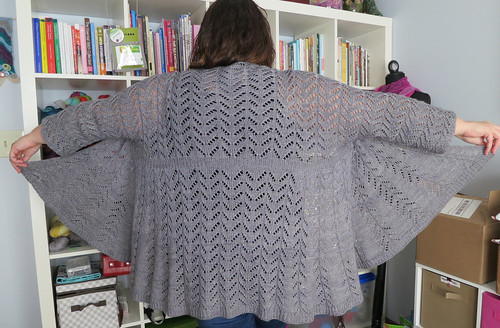 I added an extra 16 rows of lace to the bottom of the cardigan. I m glad I  did. I think it s the perfect length for a nice swingy cardi like this one. 515111a13