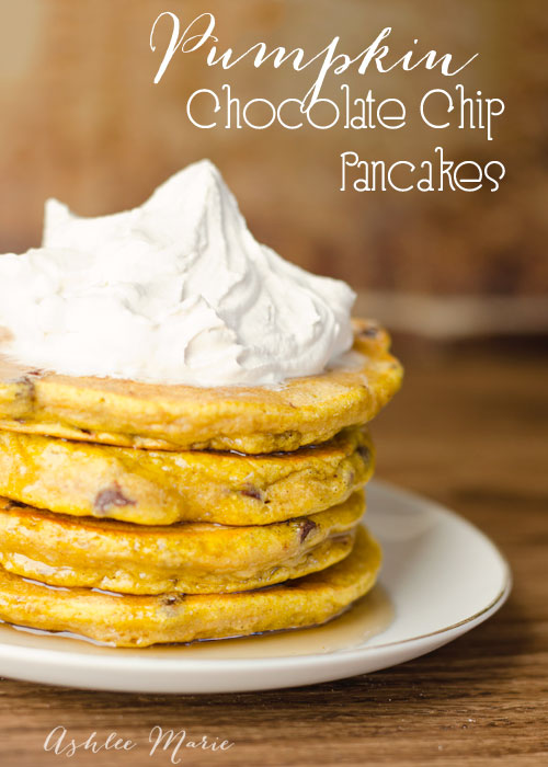 one of our all time favorite foods is pancakes, and in the fall we love pumpkin chocolate chip pancakes