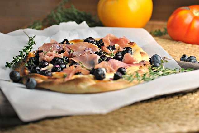 Blueberry Pizza with Honeyed Goat Cheese and Prosciutto 2