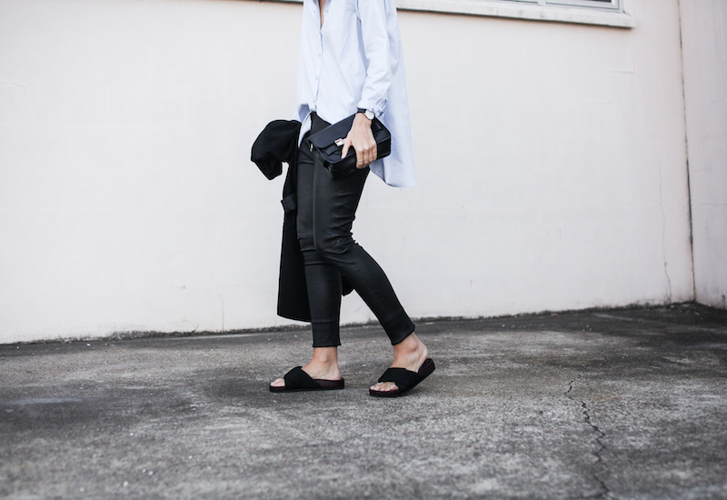 modern legacy fashion blog Australia street style Theory leather leggings Hope man style shirt boyfriend blazer Celine slide sandals Proenza Schouler PS11 mini bag work wear (9 of 12)