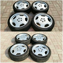 #For#Sale#Used#Parts#Mercedes#Benz#18#OEM#Genuine#AMG#MonoBlocks#Staggered#Wheel#Rim#R129#SLs#alyehliparts#alyehli#UAE#AbuDhabi#AlFalah#City  MERCEDES BENZ OEM USED PARTS - Set For 4 Genuine 18' MONOBLOCKS Staggered Wheels/Rims R129 SLs :  Front Part Num