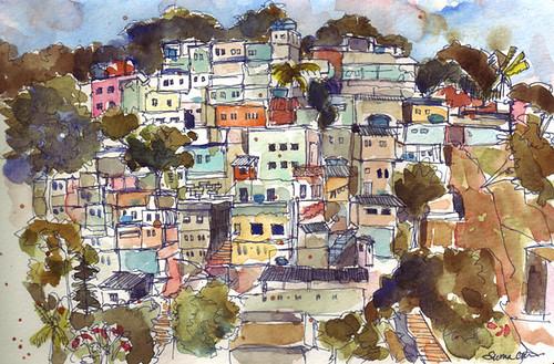View of Chacara do Ceu favela from Sheraton, Rio de Janeiro, Brazil