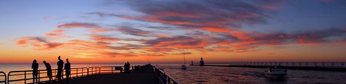 sunset panorama lighthouse landscape lakemichigan greatlake southpier silverbeach northpier sonyalpha puremichigan slta65v