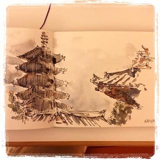#japon #urbansketch #carbon #watercolor #asakusa