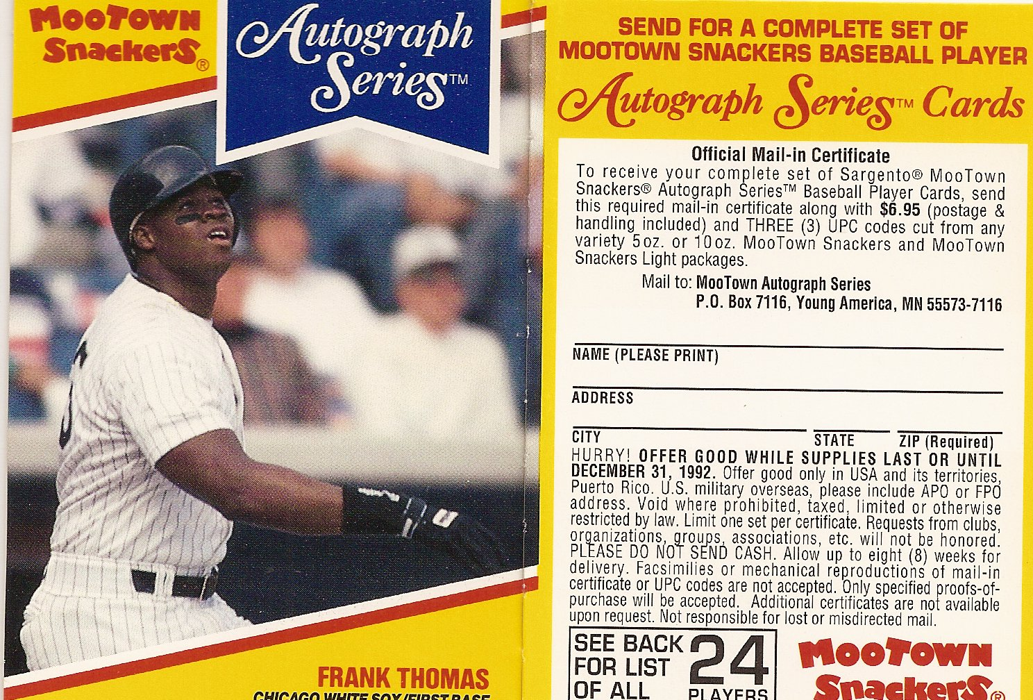 1992 Mootown Snackers with Tab (Frank Thomas)