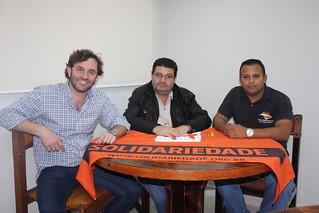 Chicão e Bahia, do Sindicato dos Guincheiros do Estado de São Paulo, apoiam o Solidariedade