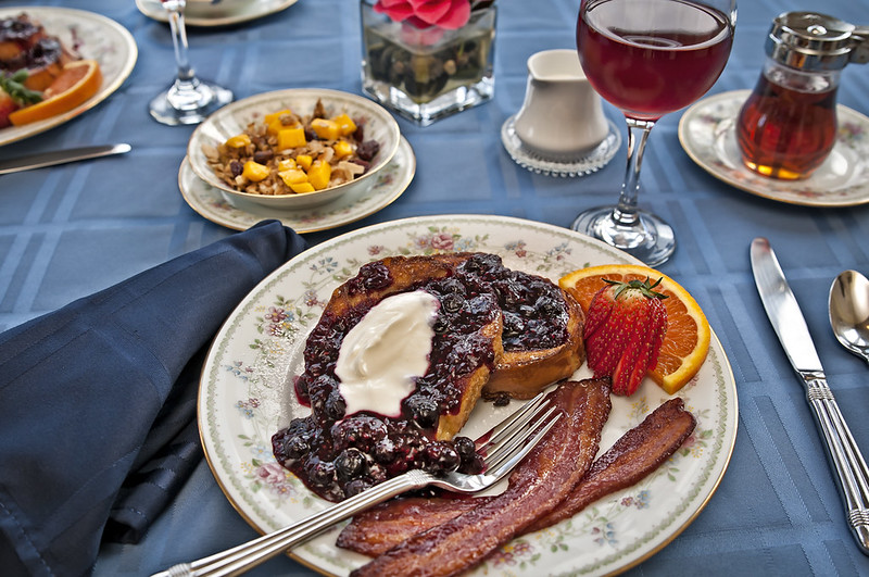 Nutmeg French Toast with Mixed Berry Compote and Maple Bacon