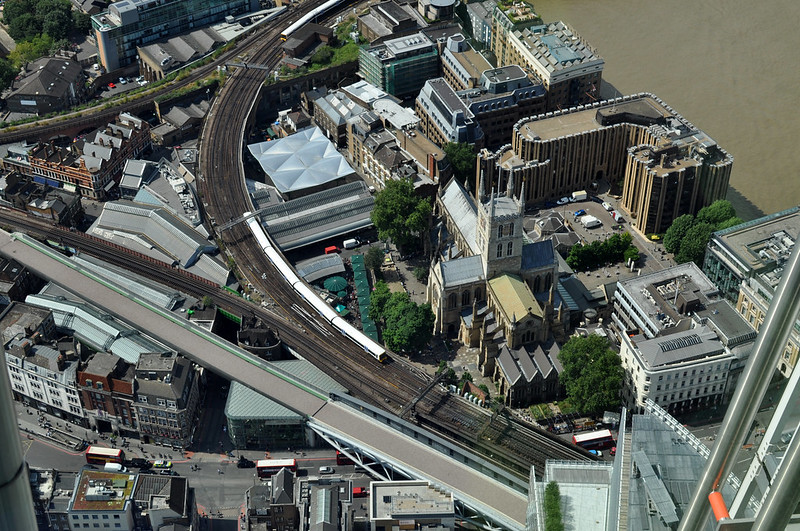 Southwark cathedral, London, viewed from the Shard.